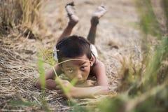Une coiffure antique thaïlandaise de garçon Photographie stock libre de droits