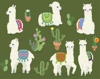 Une collection d'alpaga et de cactus mignons Ensemble de vecteur illustration de vecteur
