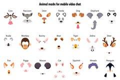 Une collection d'effets visuels d'application de causerie Un groupe de visages ou de masques mignons et drôles de divers animaux  illustration de vecteur