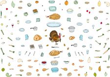 Une collection d'icônes de nourriture de vacances illustration de vecteur