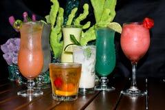 Une collection de boissons tropicales colorées Photographie stock libre de droits