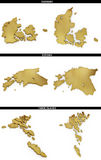 Une collection de formes d'or de l'Européen énonce des états Danemark, Estonie, les Iles Féroé d'Européen Photographie stock libre de droits