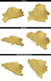 Une collection de formes d'or de l'Européen énonce le Belarus, Belgique, Bosnie-Herzégovine Image stock