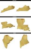 Une collection de formes d'or des états américains Kentucky, Louisiane, Maine des USA Photo stock