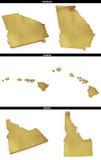 Une collection de formes d'or des états américains la Géorgie, Hawaï, Idaho des USA Photos stock