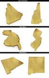 Une collection de formes d'or des états américains New Hampshire, New Jersey, Nouveau Mexique des USA Photographie stock libre de droits