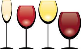 Une collection de glaces de vin Images libres de droits