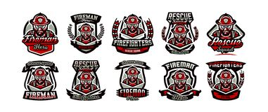 Une collection de logos colorés, d'emblèmes, d'autocollants, d'un feu sous forme de, d'une profession, un travail dangereux, un m illustration libre de droits