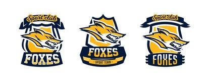 Une collection de prédateur coloré de logos, d'emblèmes, de tête de renard, adroit et dangereux, l'habitant de forêt Vecteur illustration de vecteur