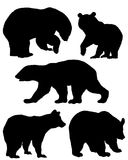 Une collection de silhouettes des ours Images stock