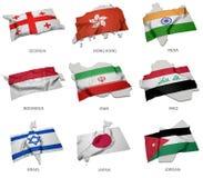 Une collection des drapeaux couvrant la correspondance forme de quelques états asiatiques Image libre de droits