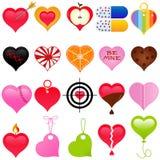 Une collection mignonne de coeur coloré pour Valentine Image stock