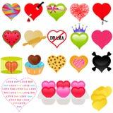 Une collection mignonne de coeur coloré pour Valentine Photos libres de droits