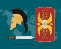 Une collection réglée d'arme romaine pour l'histoire de soldat Image stock