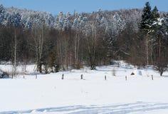 Une colline de foin sec dans les montagnes pendant l'hiver Photos stock