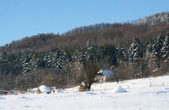 Une colline de foin sec dans les montagnes pendant l'hiver Image stock