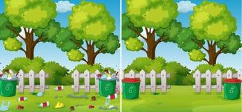 Une comparaison de parc propre et sale illustration de vecteur