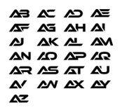 Une conception de logo et d'icône de combinaison de lettre comprenant ab, C.A., ANNONCE, EA, AF, AG, OH, AI, AJ, AK, AL, AM, ao,  illustration de vecteur