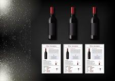 Une conception simple des bouteilles réalistes de vin et de cartes de vin avec des descriptions et des caractéristiques du vin su Image libre de droits