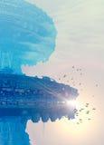 Une construction futuriste sur une surface de planète Image libre de droits