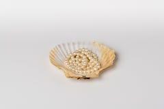 Une coquille de feston avec le collier de perle Images stock