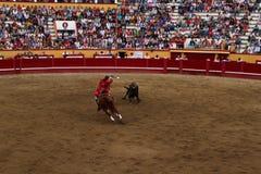 Une corrida environ pour frapper un taureau Images libres de droits