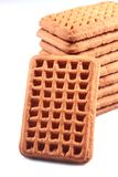 Une couche de biscuits de lait de rectangle Photographie stock