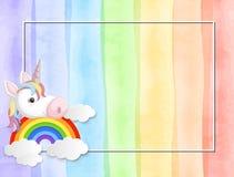 Une couleur en pastel Unicorn Background Illustration Libre de Droits