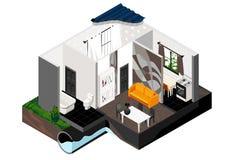 Une coupe de la maison Vue isométrique Images libres de droits
