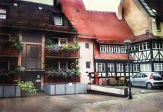 Une cour typique en Bavière Architecture européenne photo stock