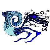 Une créature unique des tonalités bleues Illustration Stock