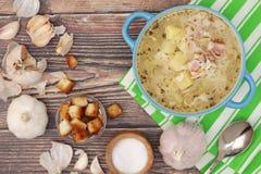 Une cuvette avec le cesnecka tchèque traditionnel de soupe à ail photos stock