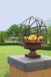 Une cuvette décorative en métal avec des citrons. Photographie stock libre de droits
