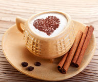 Une cuvette de café avec amour Photographie stock