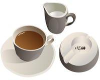 Une cuvette de café avec du lait Photographie stock