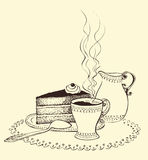 Une cuvette de cruche de café, de gâteau et de lait Photographie stock libre de droits