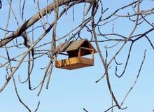 Une cuvette en bois d'oiseau accroche sur les branches d'un arbre contre le ciel bleu Image stock