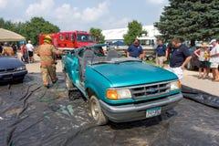 Une démonstration d'équipement de lutte contre les incendies Photo libre de droits