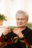 Une dame plus âgée avec la cuvette de thé Images stock