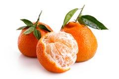 Une demi- mandarines épluchée et deux entière avec des feuilles d'isolement dessus photos libres de droits