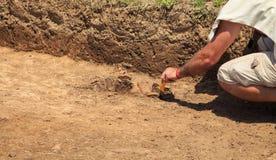Une des étapes de l'excavation Images stock
