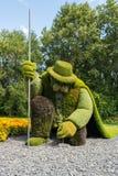 Une des nombreuses sculptures dans le jardin botanique de Montréal photographie stock