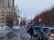 Une des sections du remblai de la rue dans la ville de Tambov photos libres de droits