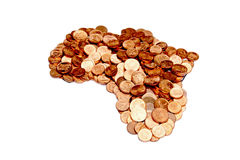 Une disposition des pièces de monnaie sud-africaines sous forme de l'Afrique Image stock