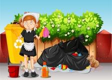 Une domestique Cleaning Dirty Area Image libre de droits