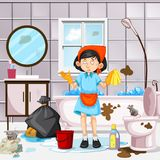 Une domestique Cleaning Dirty Bathroom Image stock
