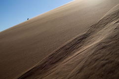 Une dune de Person Climbing Up Big Daddy, paysage de désert, Namibie photos stock