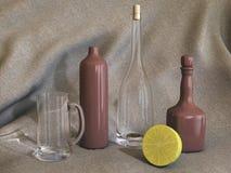 Une durée immobile avec une cuvette de bière, poterie, bouteille de vin Images stock