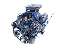 Une engine de V8 de chrome de haute performance Photographie stock libre de droits