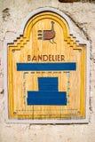 Une enseigne en bois de monument national de Bandelier images libres de droits